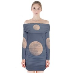The Moon And Blue Sky Long Sleeve Off Shoulder Dress