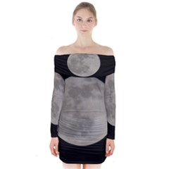 Close to the full Moon Long Sleeve Off Shoulder Dress