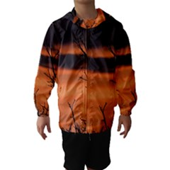 Tree branches and sunset Hooded Wind Breaker (Kids)