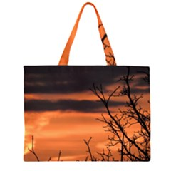 Tree Branches And Sunset Zipper Large Tote Bag