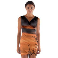 Tree Branches And Sunset Wrap Front Bodycon Dress