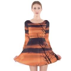 Tree branches and sunset Long Sleeve Velvet Skater Dress