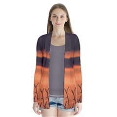 Tree Branches And Sunset Drape Collar Cardigan