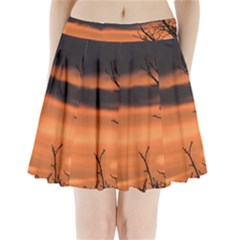 Tree branches and sunset Pleated Mini Skirt