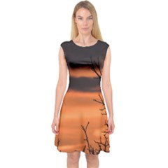Tree Branches And Sunset Capsleeve Midi Dress