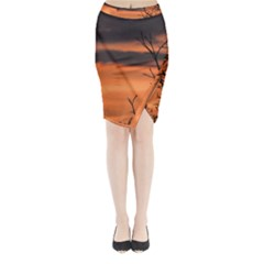 Tree branches and sunset Midi Wrap Pencil Skirt