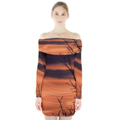 Tree Branches And Sunset Long Sleeve Off Shoulder Dress