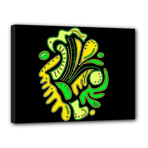 Yellow and green spot Canvas 16  x 12