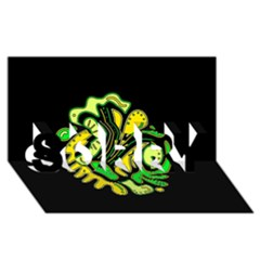 Yellow and green spot SORRY 3D Greeting Card (8x4)