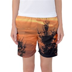 Christmas tree and sunset Women s Basketball Shorts