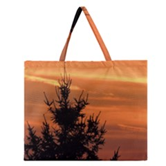 Christmas tree and sunset Zipper Large Tote Bag