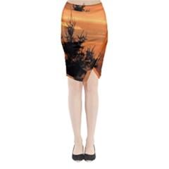 Christmas tree and sunset Midi Wrap Pencil Skirt