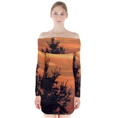 Christmas tree and sunset Long Sleeve Off Shoulder Dress