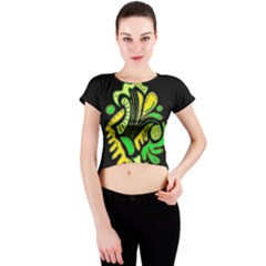 Yellow and green spot Crew Neck Crop Top