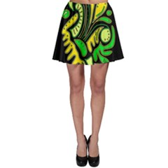 Yellow and green spot Skater Skirt