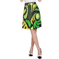 Yellow and green spot A-Line Skirt