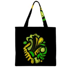 Yellow and green spot Zipper Grocery Tote Bag
