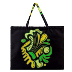 Yellow and green spot Zipper Large Tote Bag