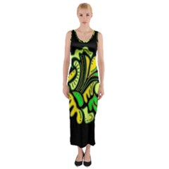Yellow and green spot Fitted Maxi Dress