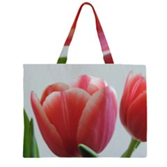 Red - White Tulip flower Large Tote Bag