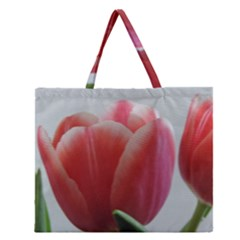 Red   White Tulip Flower Zipper Large Tote Bag