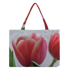 Red - White Tulip flower Medium Tote Bag