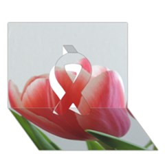 Red Tulips Ribbon 3d Greeting Card (7x5)