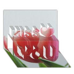 Red Tulips Miss You 3d Greeting Card (7x5)
