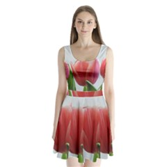 Red Tulips Split Back Mini Dress