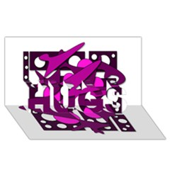 Something purple HUGS 3D Greeting Card (8x4)