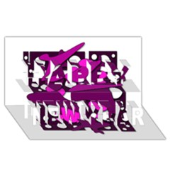 Something purple Happy New Year 3D Greeting Card (8x4)