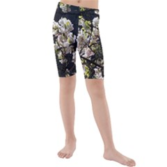 Blooming Japanese cherry flowers Kids  Mid Length Swim Shorts