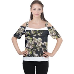 Blooming Japanese cherry flowers Women s Cutout Shoulder Tee