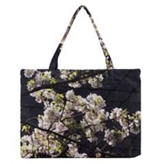 Blooming Japanese Cherry Flowers Medium Zipper Tote Bag