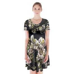 Japanese cherry flower Short Sleeve V-neck Flare Dress