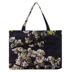Japanese cherry flower Medium Zipper Tote Bag