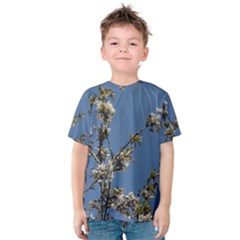 White Cherry flowers and blue sky Kids  Cotton Tee