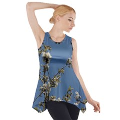 White Cherry flowers and blue sky Side Drop Tank Tunic