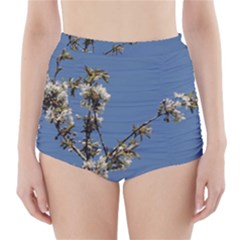 White Cherry flowers and blue sky High-Waisted Bikini Bottoms