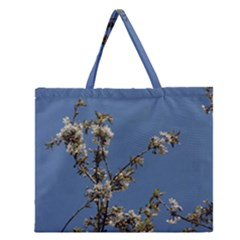 White Cherry flowers and blue sky Zipper Large Tote Bag