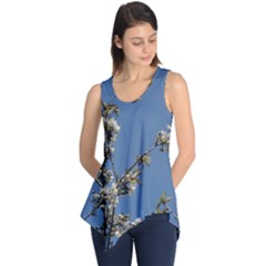 White Cherry flowers and blue sky Sleeveless Tunic