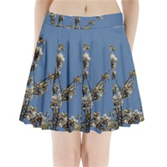White Cherry flowers and blue sky Pleated Mini Skirt