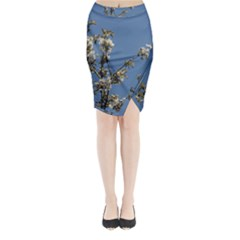 White Cherry Flowers And Blue Sky Midi Wrap Pencil Skirt
