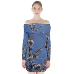White Cherry Flowers And Blue Sky Long Sleeve Off Shoulder Dress