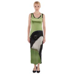 Goose bird in nature Fitted Maxi Dress