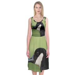 Goose Bird In Nature Midi Sleeveless Dress