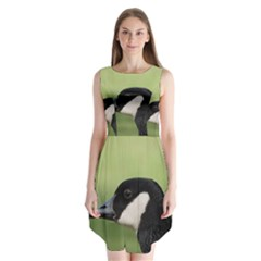 Goose bird in nature Sleeveless Chiffon Dress