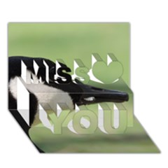 Goose, black and white Miss You 3D Greeting Card (7x5)
