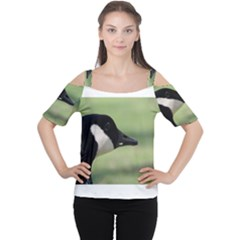 Goose, Black And White Women s Cutout Shoulder Tee