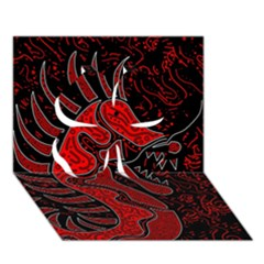 Red dragon Clover 3D Greeting Card (7x5)